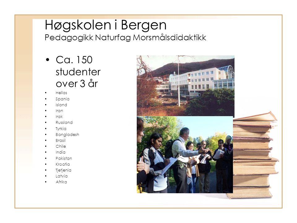 Høgskolen i Bergen Pedagogikk Naturfag Morsmålsdidaktikk Ca.