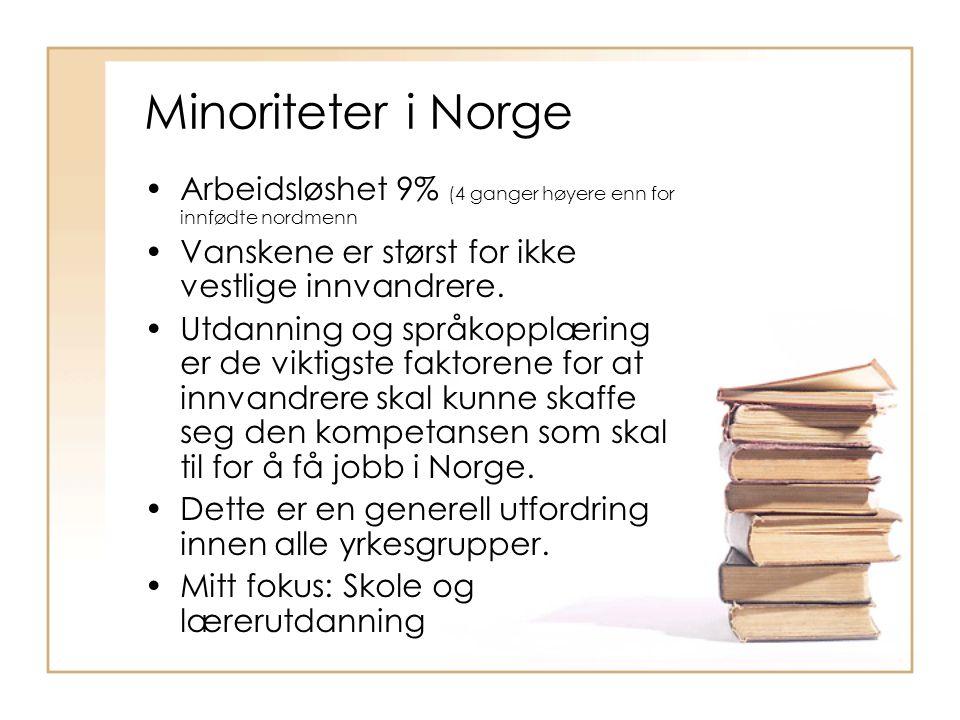 Minoriteter i Norge Arbeidsløshet 9% (4 ganger høyere enn for innfødte nordmenn Vanskene er størst for ikke vestlige innvandrere.