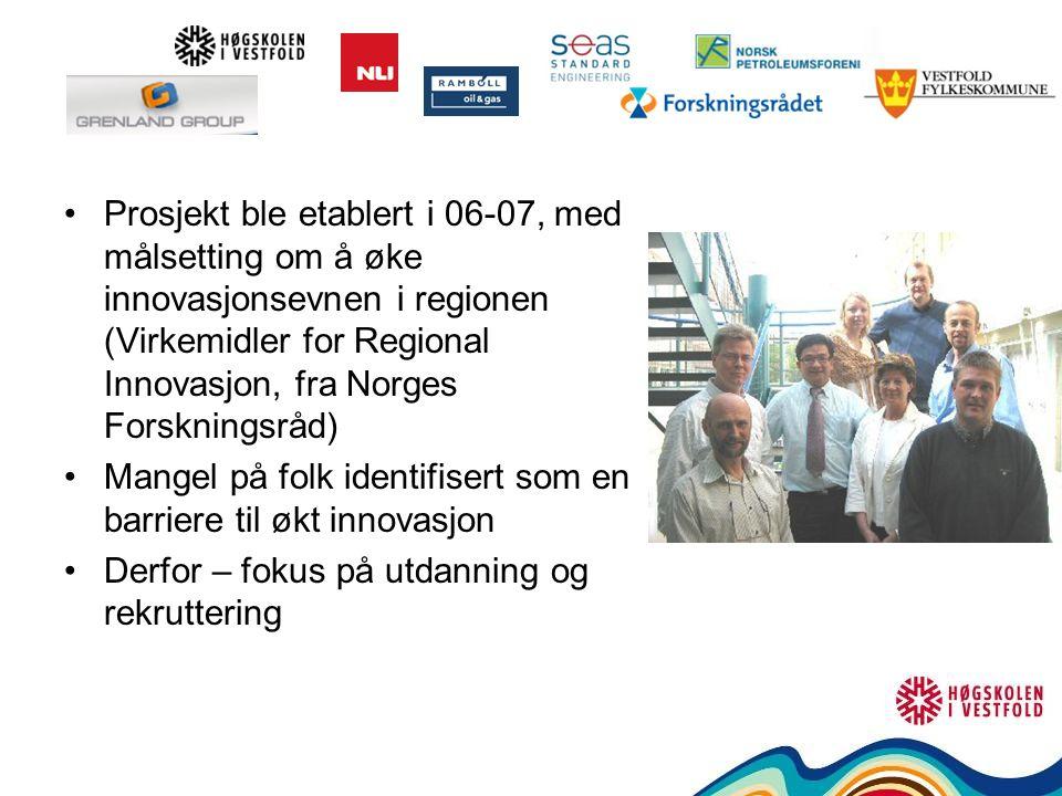 Prosjekt ble etablert i 06-07, med målsetting om å øke innovasjonsevnen i regionen (Virkemidler for Regional Innovasjon, fra Norges Forskningsråd) Mangel på folk identifisert som en barriere til økt innovasjon Derfor – fokus på utdanning og rekruttering