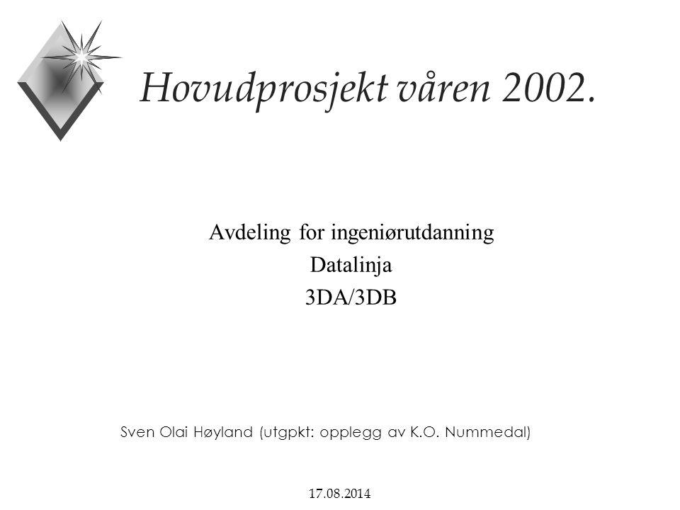 17.08.2014 Hovudprosjekt våren 2002. Avdeling for ingeniørutdanning Datalinja 3DA/3DB Sven Olai Høyland (utgpkt: opplegg av K.O. Nummedal)