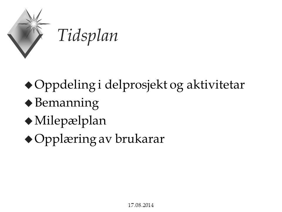 17.08.2014 Tidsplan u Oppdeling i delprosjekt og aktivitetar u Bemanning u Milepælplan u Opplæring av brukarar