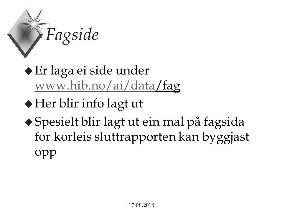 17.08.2014 Sluttrapporten u Kva skal rapporten innehalde.