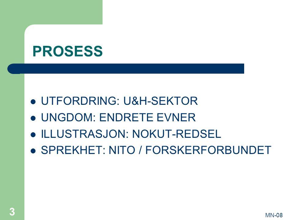 MN-08 3 PROSESS UTFORDRING: U&H-SEKTOR UNGDOM: ENDRETE EVNER ILLUSTRASJON: NOKUT-REDSEL SPREKHET: NITO / FORSKERFORBUNDET
