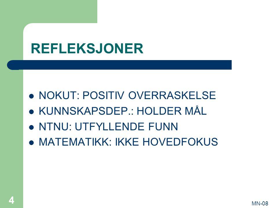 MN-08 4 REFLEKSJONER NOKUT: POSITIV OVERRASKELSE KUNNSKAPSDEP.: HOLDER MÅL NTNU: UTFYLLENDE FUNN MATEMATIKK: IKKE HOVEDFOKUS