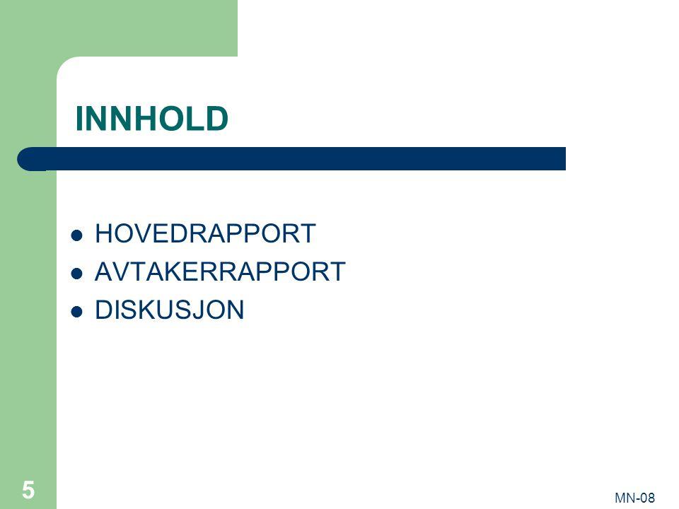 MN-08 5 INNHOLD HOVEDRAPPORT AVTAKERRAPPORT DISKUSJON