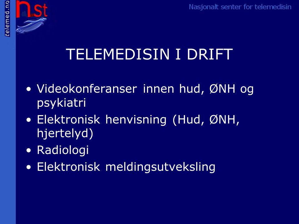 TELEMEDISIN I DRIFT Videokonferanser innen hud, ØNH og psykiatri Elektronisk henvisning (Hud, ØNH, hjertelyd) Radiologi Elektronisk meldingsutveksling