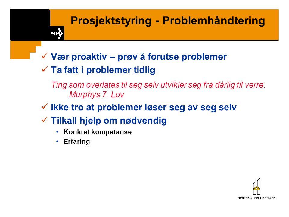 Prosjektstyring - Problemhåndtering Vær proaktiv – prøv å forutse problemer Ta fatt i problemer tidlig Ting som overlates til seg selv utvikler seg fra dårlig til verre.