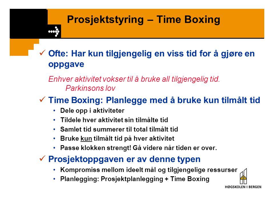 Prosjektstyring – Time Boxing Ofte: Har kun tilgjengelig en viss tid for å gjøre en oppgave Enhver aktivitet vokser til å bruke all tilgjengelig tid.