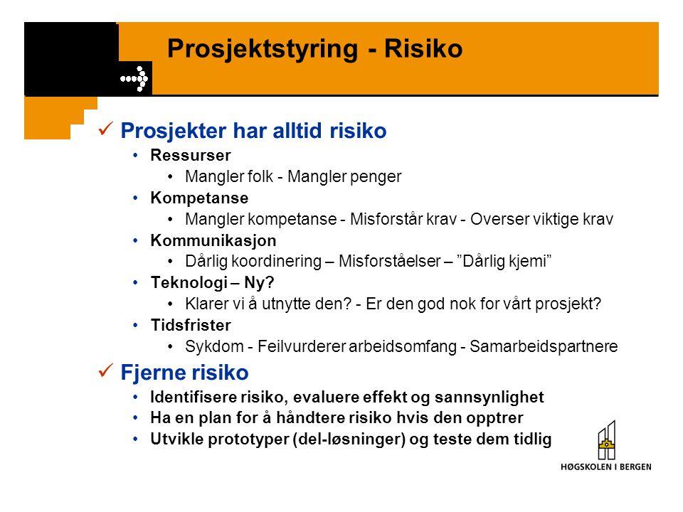 Prosjektstyring - Risiko Prosjekter har alltid risiko Ressurser Mangler folk - Mangler penger Kompetanse Mangler kompetanse - Misforstår krav - Overse