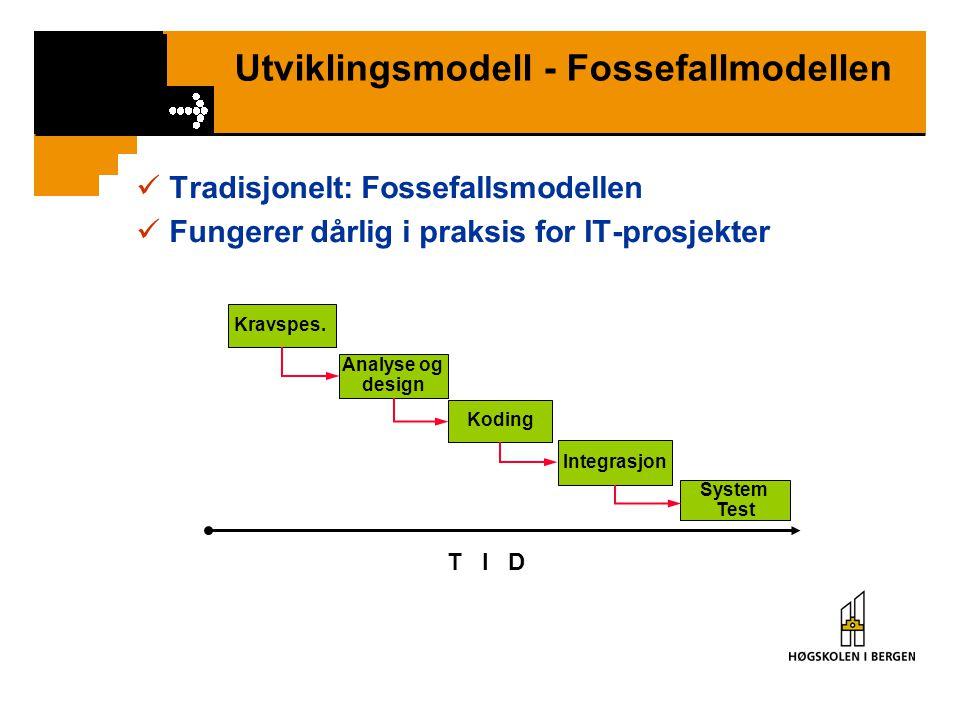 Utviklingsmodell - Fossefallmodellen Tradisjonelt: Fossefallsmodellen Fungerer dårlig i praksis for IT-prosjekter T I D Integrasjon System Test Koding Analyse og design Kravspes.