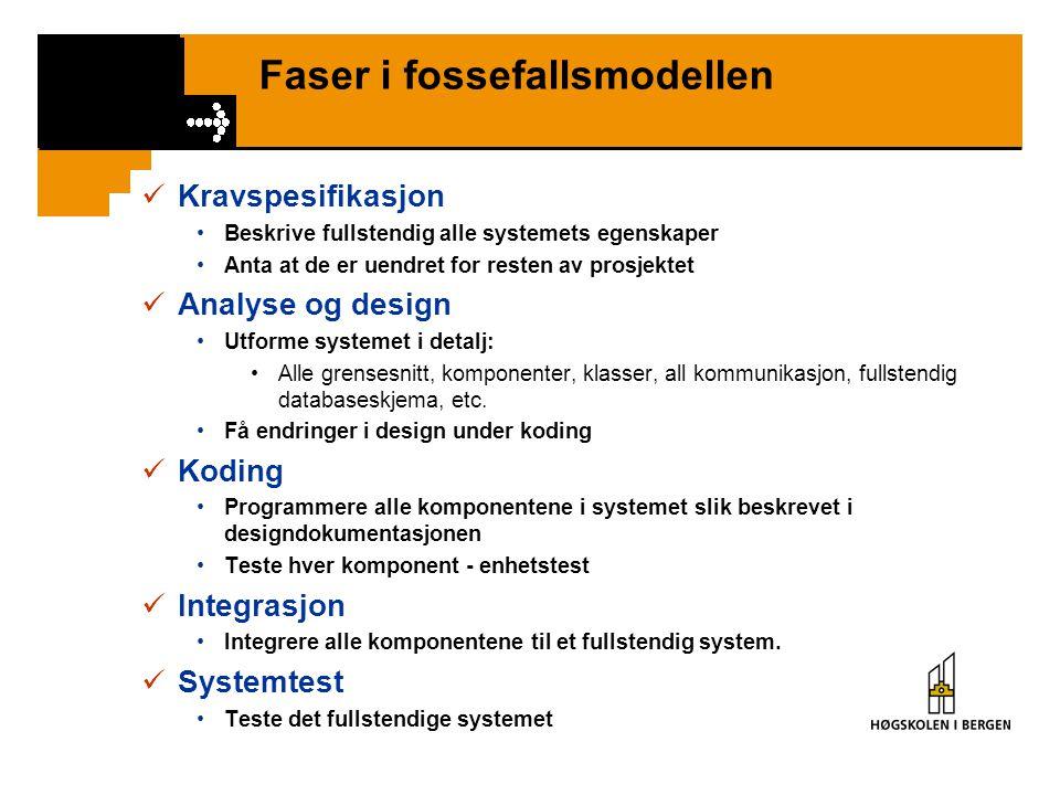 Faser i fossefallsmodellen Kravspesifikasjon Beskrive fullstendig alle systemets egenskaper Anta at de er uendret for resten av prosjektet Analyse og
