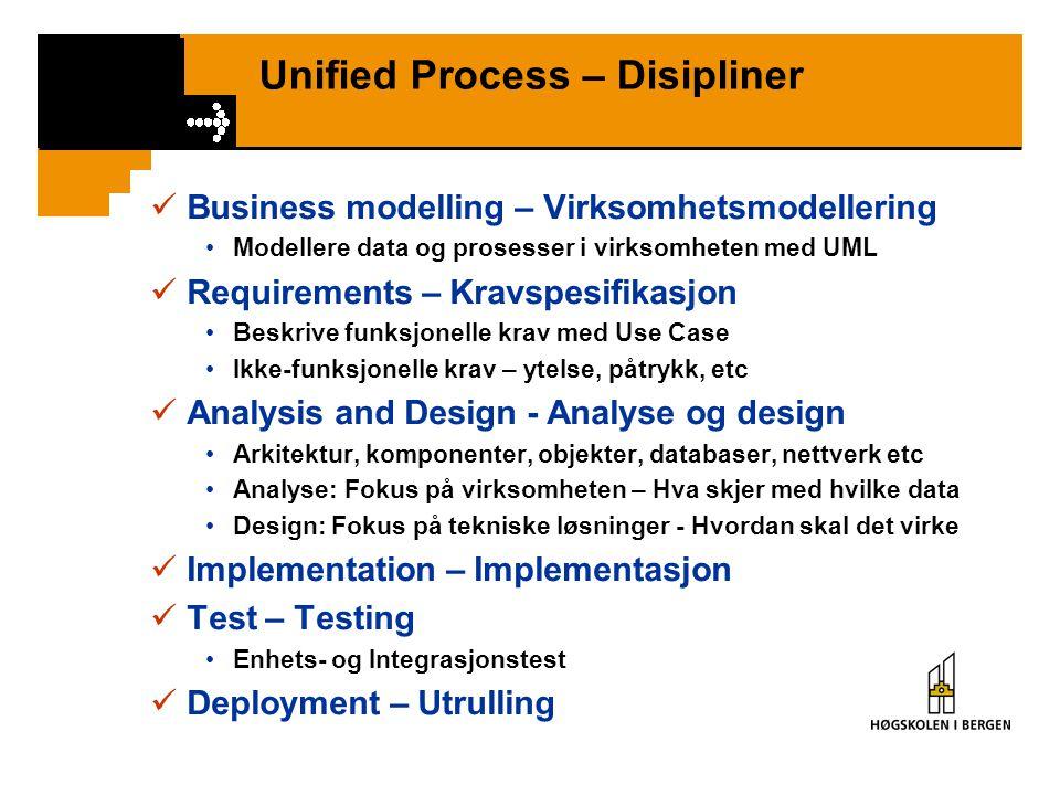 Unified Process – Disipliner Business modelling – Virksomhetsmodellering Modellere data og prosesser i virksomheten med UML Requirements – Kravspesifikasjon Beskrive funksjonelle krav med Use Case Ikke-funksjonelle krav – ytelse, påtrykk, etc Analysis and Design - Analyse og design Arkitektur, komponenter, objekter, databaser, nettverk etc Analyse: Fokus på virksomheten – Hva skjer med hvilke data Design: Fokus på tekniske løsninger - Hvordan skal det virke Implementation – Implementasjon Test – Testing Enhets- og Integrasjonstest Deployment – Utrulling
