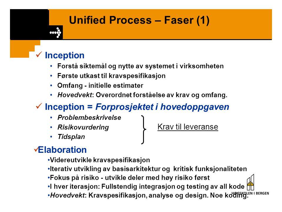 Unified Process – Faser (1) Inception Forstå siktemål og nytte av systemet i virksomheten Første utkast til kravspesifikasjon Omfang - initielle estimater Hovedvekt: Overordnet forståelse av krav og omfang.