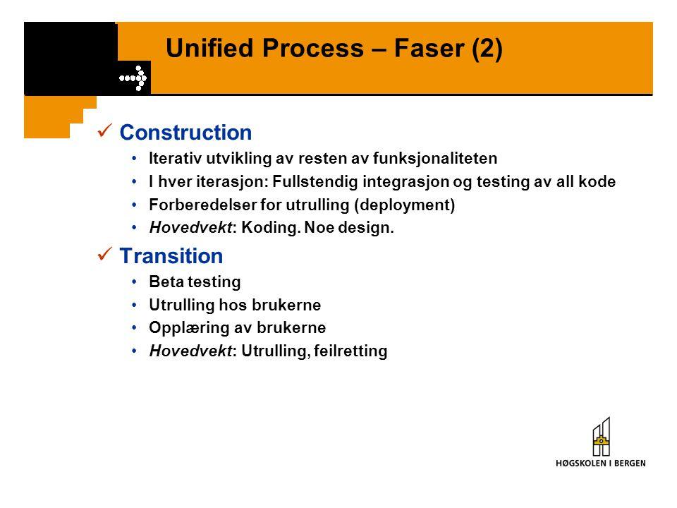 Unified Process – Faser (2) Construction Iterativ utvikling av resten av funksjonaliteten I hver iterasjon: Fullstendig integrasjon og testing av all kode Forberedelser for utrulling (deployment) Hovedvekt: Koding.