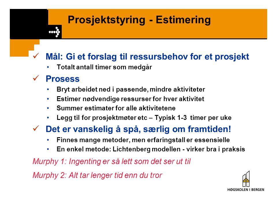 Prosjektstyring - Estimering Mål: Gi et forslag til ressursbehov for et prosjekt Totalt antall timer som medgår Prosess Bryt arbeidet ned i passende,