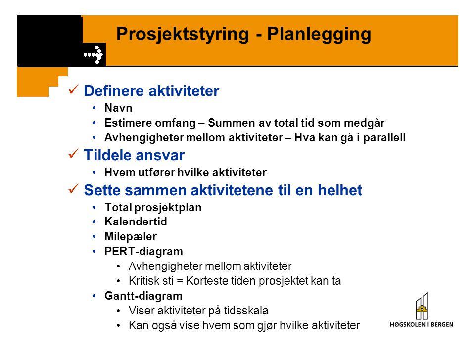 Prosjektstyring - Planlegging Definere aktiviteter Navn Estimere omfang – Summen av total tid som medgår Avhengigheter mellom aktiviteter – Hva kan gå