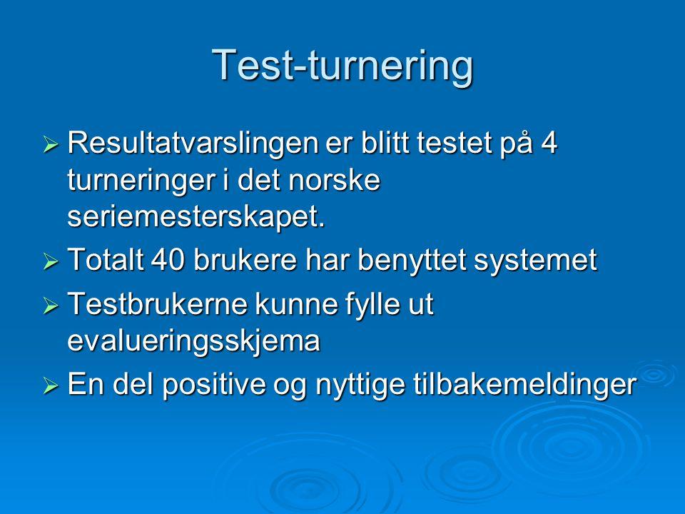 Test-turnering  Resultatvarslingen er blitt testet på 4 turneringer i det norske seriemesterskapet.