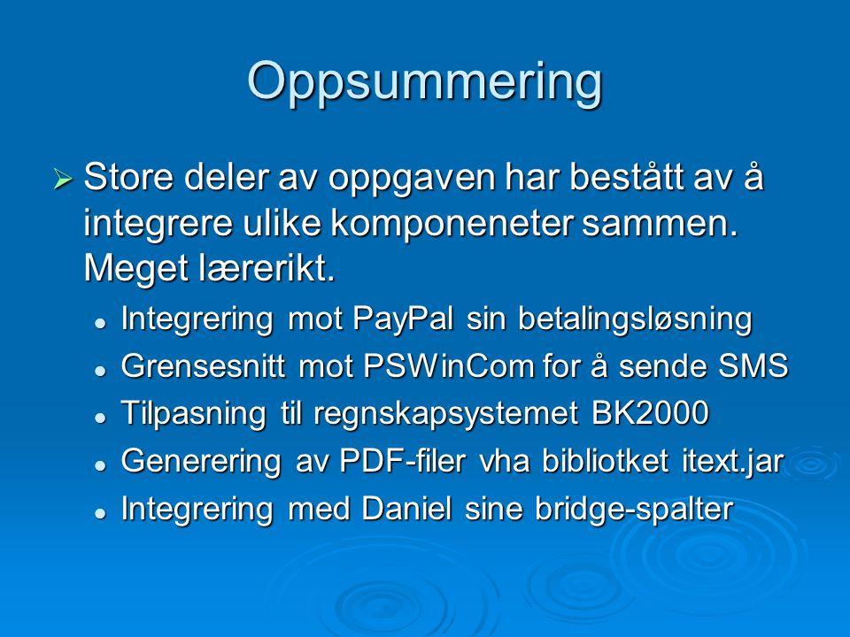 Oppsummering  Store deler av oppgaven har bestått av å integrere ulike komponeneter sammen.