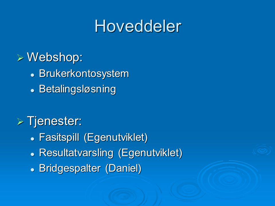 Hoveddeler  Webshop: Brukerkontosystem Brukerkontosystem Betalingsløsning Betalingsløsning  Tjenester: Fasitspill (Egenutviklet) Fasitspill (Egenutviklet) Resultatvarsling (Egenutviklet) Resultatvarsling (Egenutviklet) Bridgespalter (Daniel) Bridgespalter (Daniel)