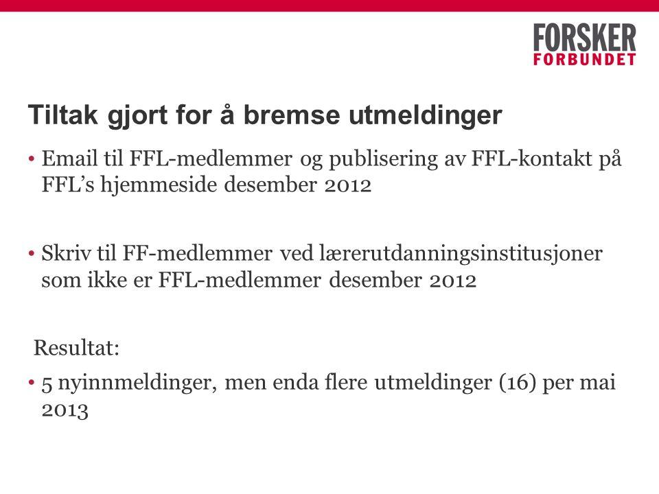 Tiltak gjort for å bremse utmeldinger Email til FFL-medlemmer og publisering av FFL-kontakt på FFL's hjemmeside desember 2012 Skriv til FF-medlemmer ved lærerutdanningsinstitusjoner som ikke er FFL-medlemmer desember 2012 Resultat: 5 nyinnmeldinger, men enda flere utmeldinger (16) per mai 2013