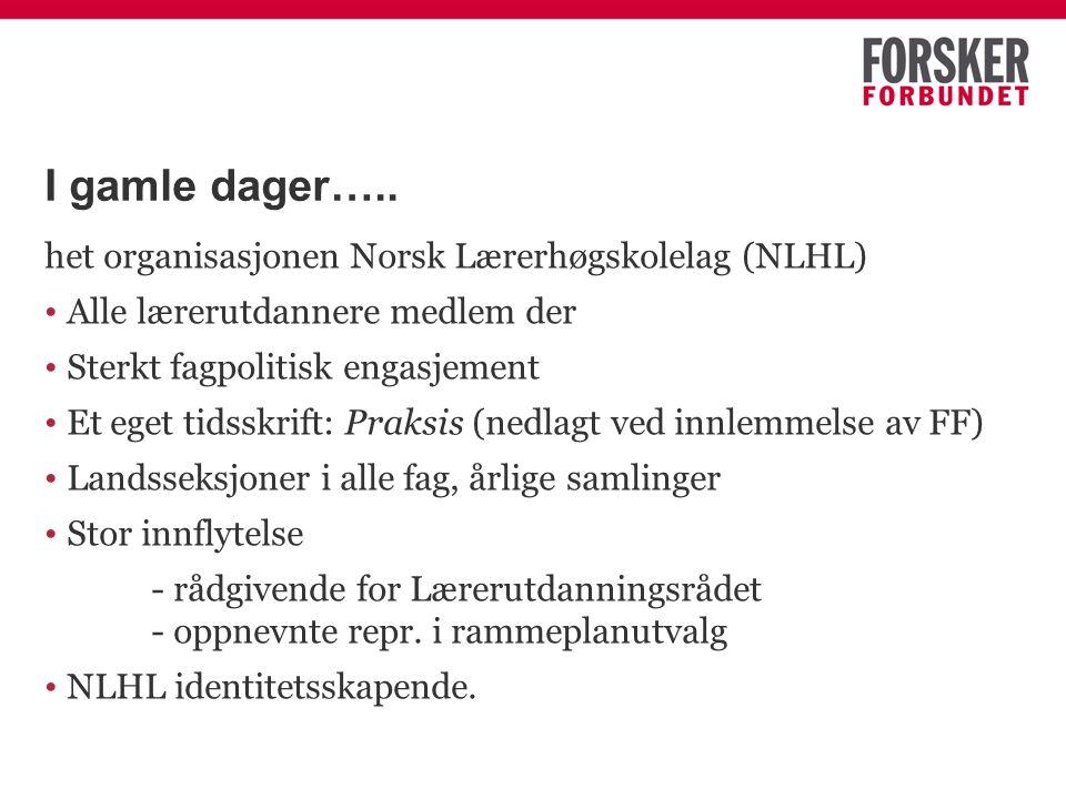 I gamle dager….. het organisasjonen Norsk Lærerhøgskolelag (NLHL) Alle lærerutdannere medlem der Sterkt fagpolitisk engasjement Et eget tidsskrift: Pr