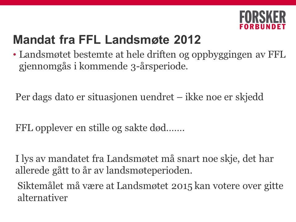Mandat fra FFL Landsmøte 2012 Landsmøtet bestemte at hele driften og oppbyggingen av FFL gjennomgås i kommende 3-årsperiode. Per dags dato er situasjo