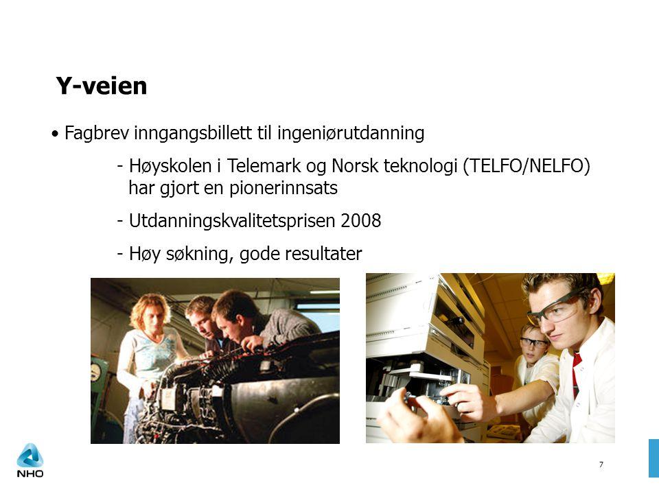 7 Y-veien Fagbrev inngangsbillett til ingeniørutdanning - Høyskolen i Telemark og Norsk teknologi (TELFO/NELFO) har gjort en pionerinnsats - Utdanningskvalitetsprisen 2008 - Høy søkning, gode resultater