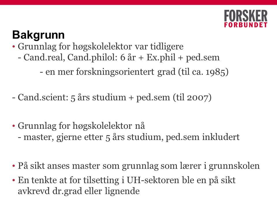 Bakgrunn Grunnlag for høgskolelektor var tidligere - Cand.real, Cand.philol: 6 år + Ex.phil + ped.sem - en mer forskningsorientert grad (til ca.