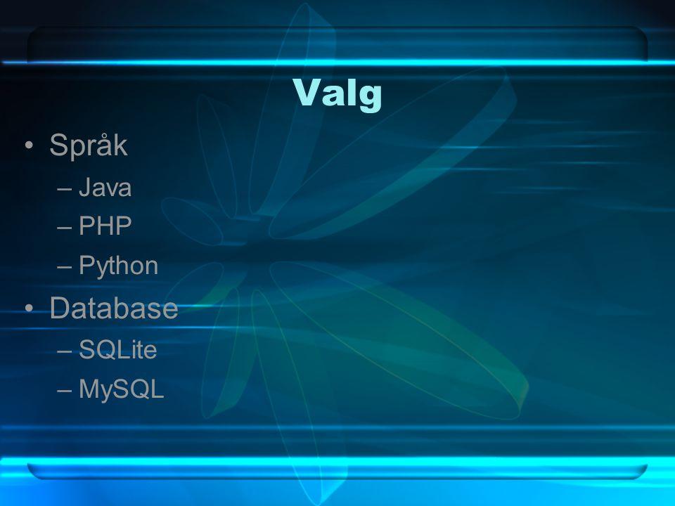 Valg Språk –Java –PHP –Python Database –SQLite –MySQL