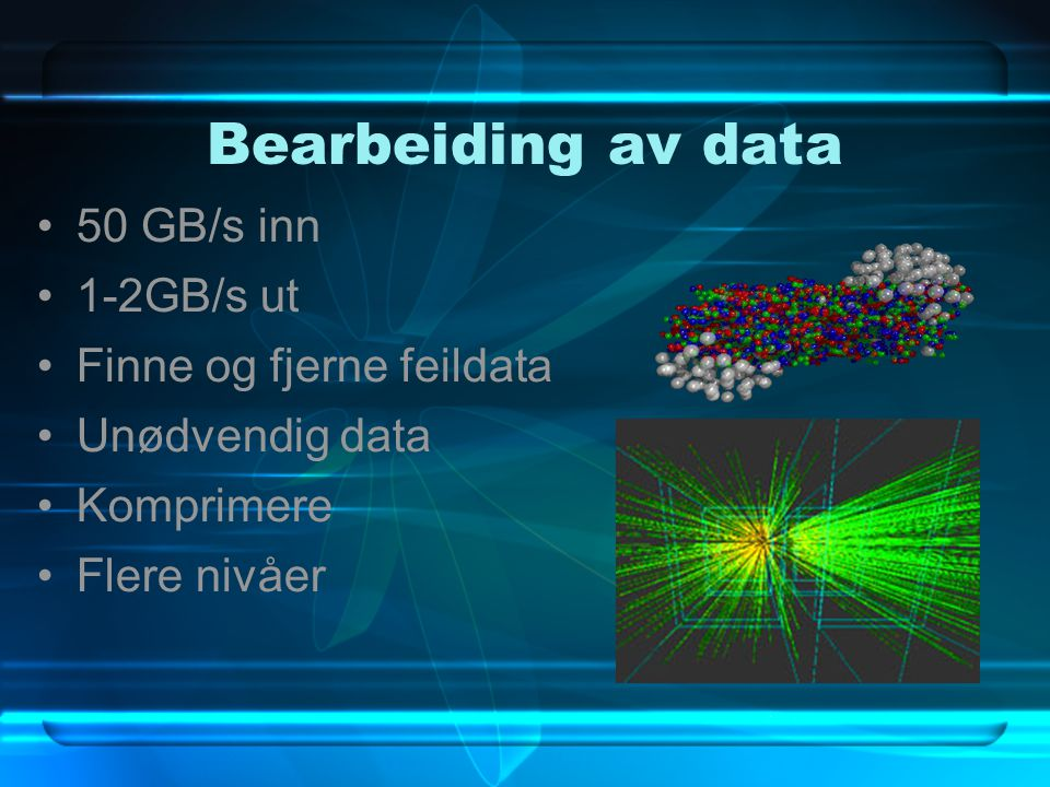 HLT – HIGH LEVEL TRIGGER Bearbeiding på høyt nivå Finne punkter fra spor Komprimere data Litt fysikk analyse Velge ut interessante data Trenger stor datakraft ca 700 prosessorer