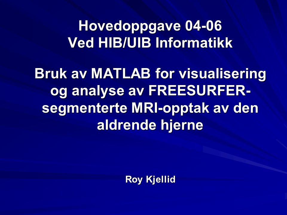 Hovedoppgave 04-06 Ved HIB/UIB Informatikk Bruk av MATLAB for visualisering og analyse av FREESURFER- segmenterte MRI-opptak av den aldrende hjerne Ro
