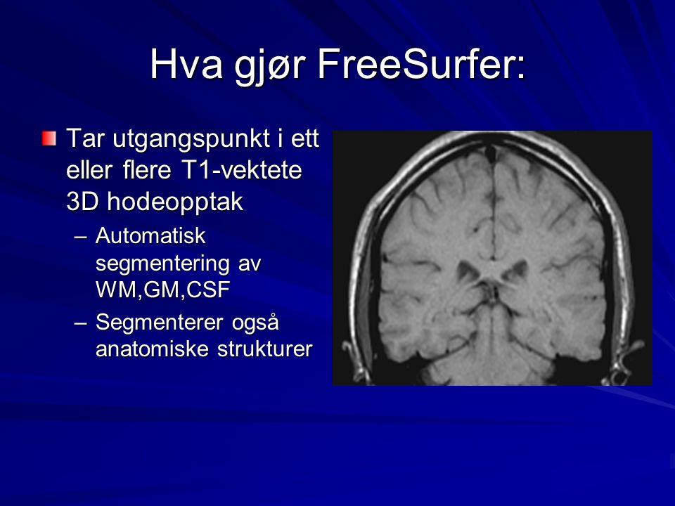 Hva gjør FreeSurfer: Tar utgangspunkt i ett eller flere T1-vektete 3D hodeopptak –Automatisk segmentering av WM,GM,CSF –Segmenterer også anatomiske st