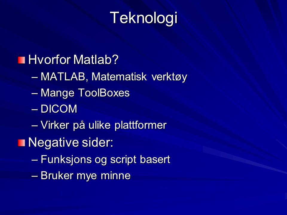 Teknologi Hvorfor Matlab? –MATLAB, Matematisk verktøy –Mange ToolBoxes –DICOM –Virker på ulike plattformer Negative sider: –Funksjons og script basert