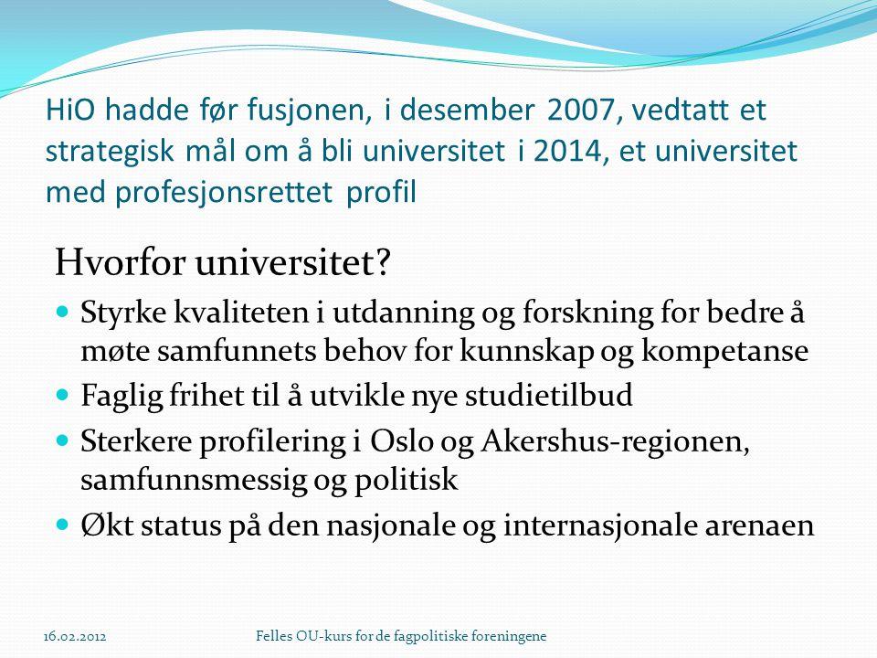 HiO hadde før fusjonen, i desember 2007, vedtatt et strategisk mål om å bli universitet i 2014, et universitet med profesjonsrettet profil Hvorfor universitet.