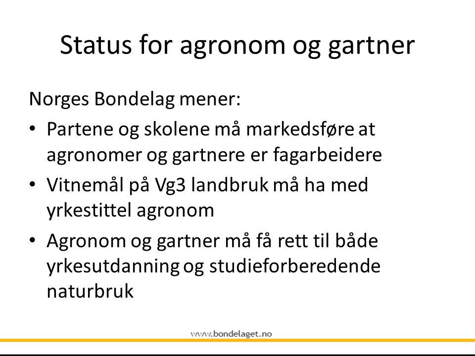 Status for agronom og gartner Norges Bondelag mener: Partene og skolene må markedsføre at agronomer og gartnere er fagarbeidere Vitnemål på Vg3 landbruk må ha med yrkestittel agronom Agronom og gartner må få rett til både yrkesutdanning og studieforberedende naturbruk