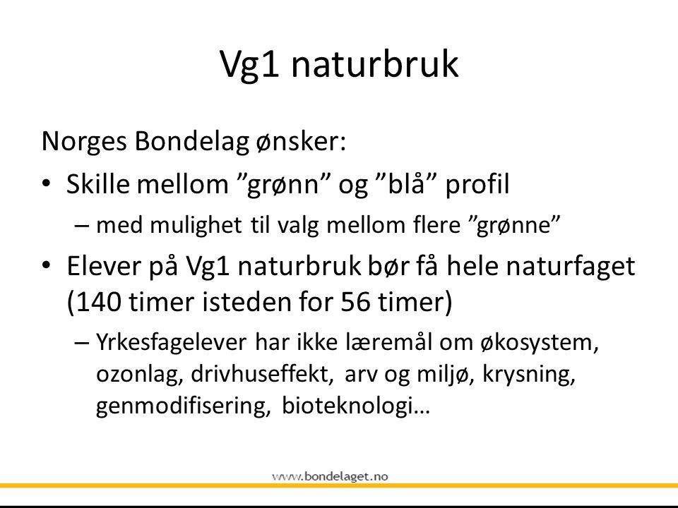 Vg2 landbruk og gartnernæring Norges Bondelag mener: Må kunne velge mellom fordyping landbruk eller gartnernæring – Ev.