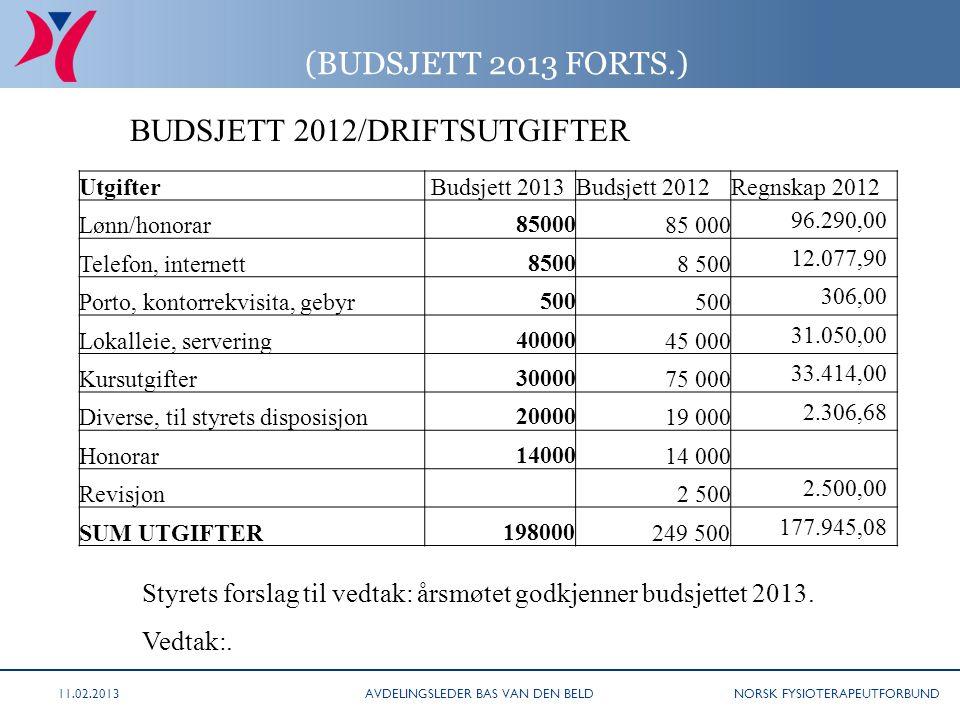 NORSK FYSIOTERAPEUTFORBUND (BUDSJETT 2013 FORTS.) BUDSJETT 2012/DRIFTSUTGIFTER Styrets forslag til vedtak: årsmøtet godkjenner budsjettet 2013. Vedtak