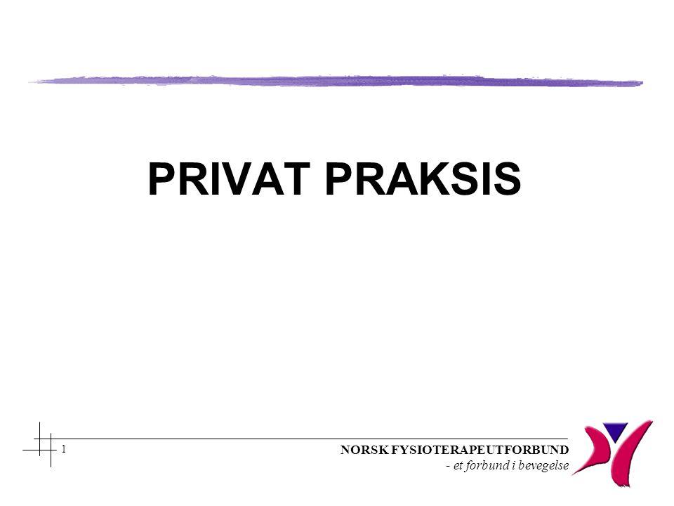 NORSK FYSIOTERAPEUTFORBUND - et forbund i bevegelse 1 PRIVAT PRAKSIS