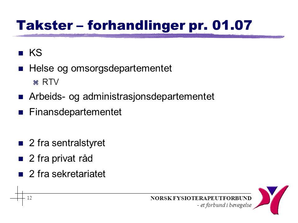 NORSK FYSIOTERAPEUTFORBUND - et forbund i bevegelse 12 Takster – forhandlinger pr. 01.07 n KS n Helse og omsorgsdepartementet z RTV n Arbeids- og admi