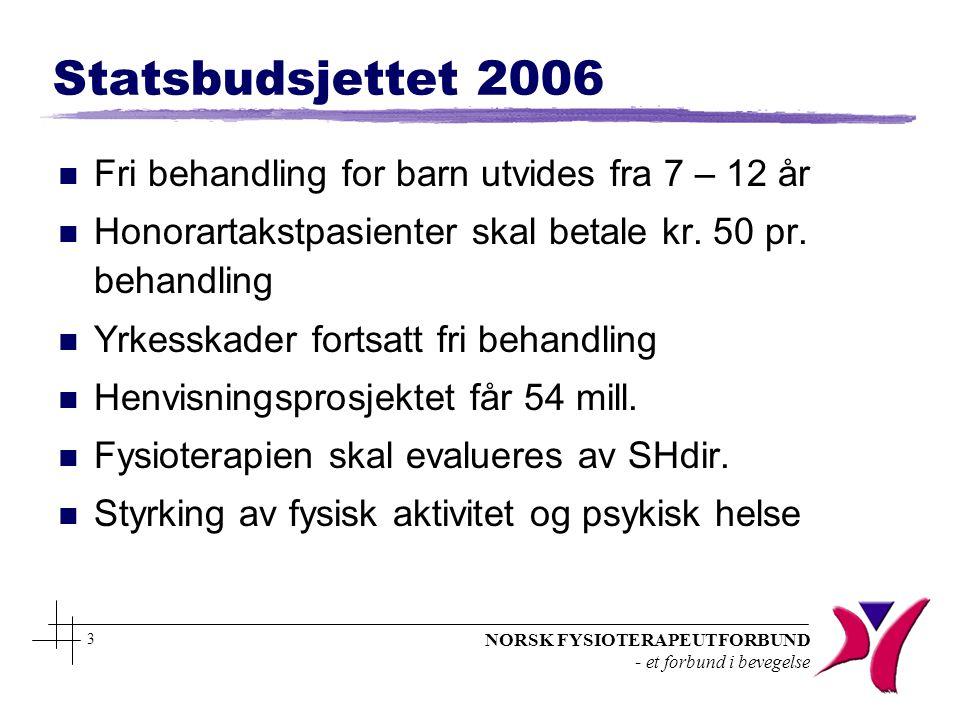 NORSK FYSIOTERAPEUTFORBUND - et forbund i bevegelse 3 Statsbudsjettet 2006 n Fri behandling for barn utvides fra 7 – 12 år n Honorartakstpasienter ska