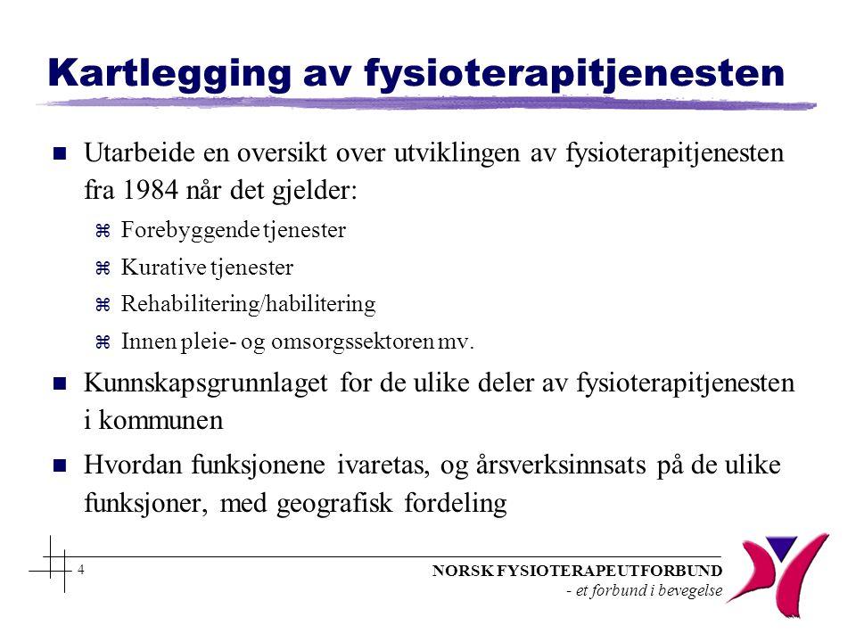 NORSK FYSIOTERAPEUTFORBUND - et forbund i bevegelse 4 Kartlegging av fysioterapitjenesten n Utarbeide en oversikt over utviklingen av fysioterapitjene