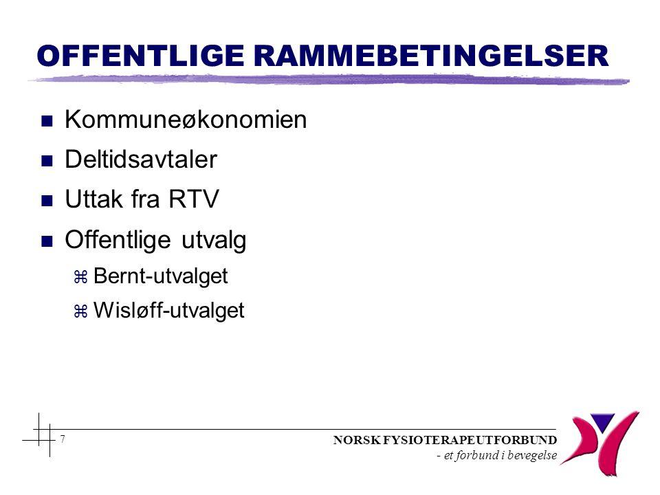 NORSK FYSIOTERAPEUTFORBUND - et forbund i bevegelse 7 OFFENTLIGE RAMMEBETINGELSER n Kommuneøkonomien n Deltidsavtaler n Uttak fra RTV n Offentlige utv