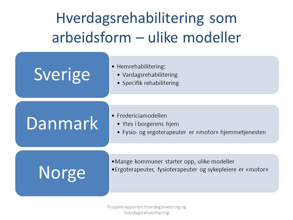 Hverdagsrehabilitering som arbeidsform – ulike modeller Hemrehabilitering: Vardagsrehabilitering Specifik rehabilitering Sverige Fredericiamodellen Yt