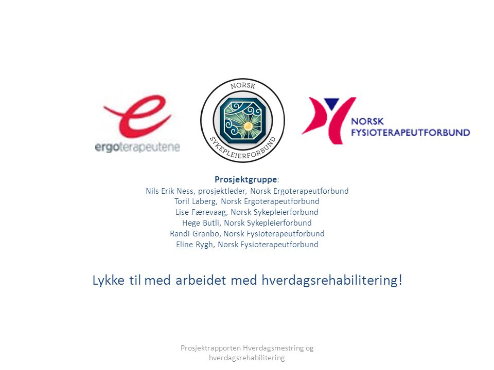 Prosjektgruppe : Nils Erik Ness, prosjektleder, Norsk Ergoterapeutforbund Toril Laberg, Norsk Ergoterapeutforbund Lise Færevaag, Norsk Sykepleierforbu
