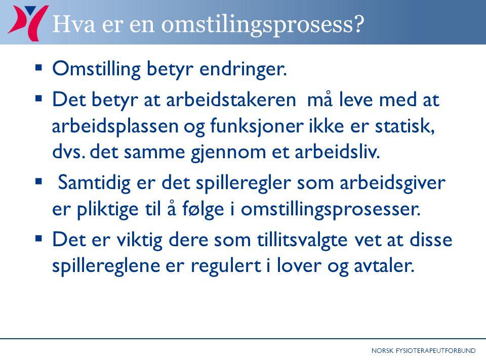 NORSK FYSIOTERAPEUTFORBUND Hva er en omstilingsprosess?  Omstilling betyr endringer.  Det betyr at arbeidstakeren må leve med at arbeidsplassen og f