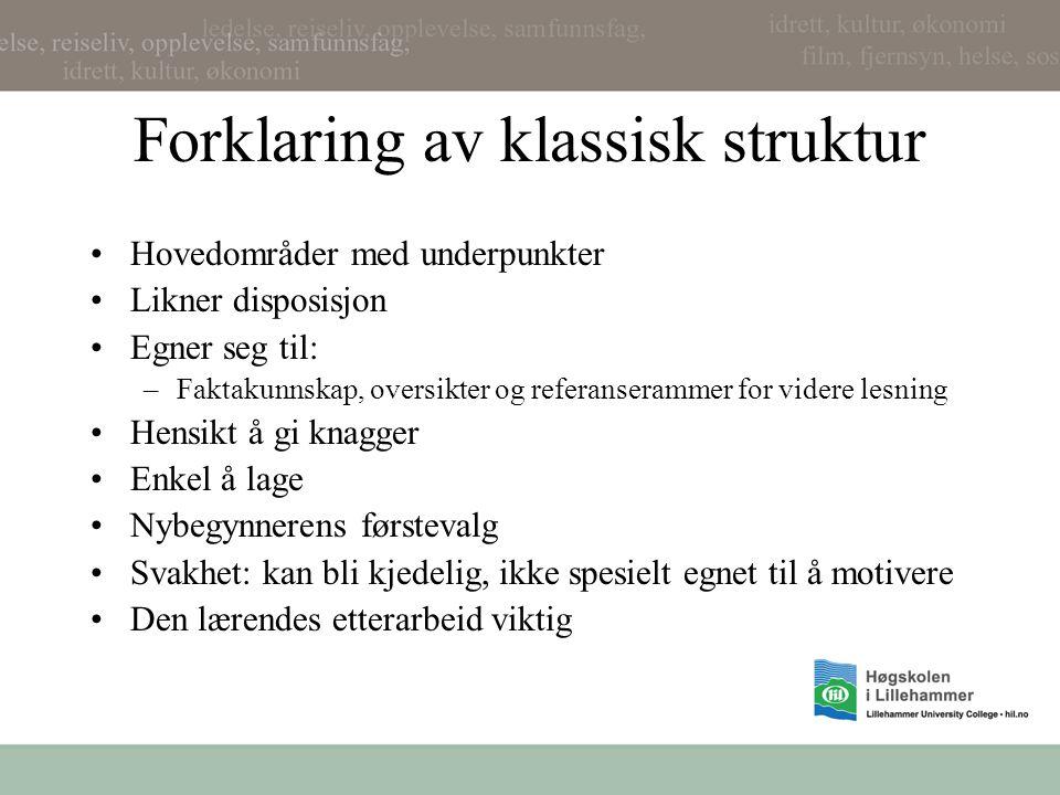Forklaring av klassisk struktur Hovedområder med underpunkter Likner disposisjon Egner seg til: –Faktakunnskap, oversikter og referanserammer for vide