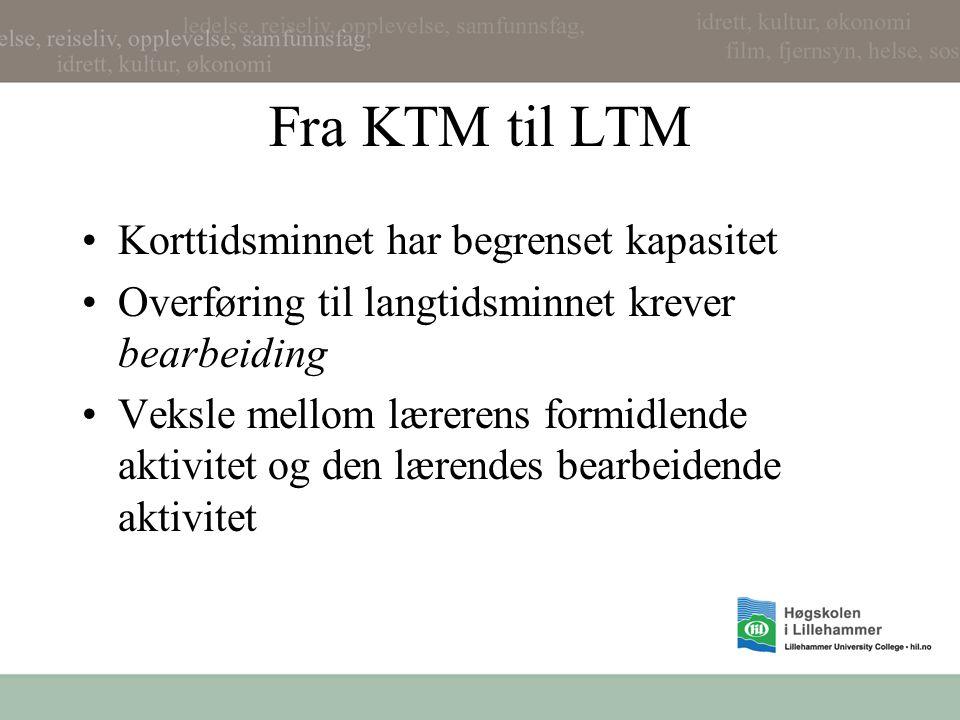 Fra KTM til LTM Korttidsminnet har begrenset kapasitet Overføring til langtidsminnet krever bearbeiding Veksle mellom lærerens formidlende aktivitet o