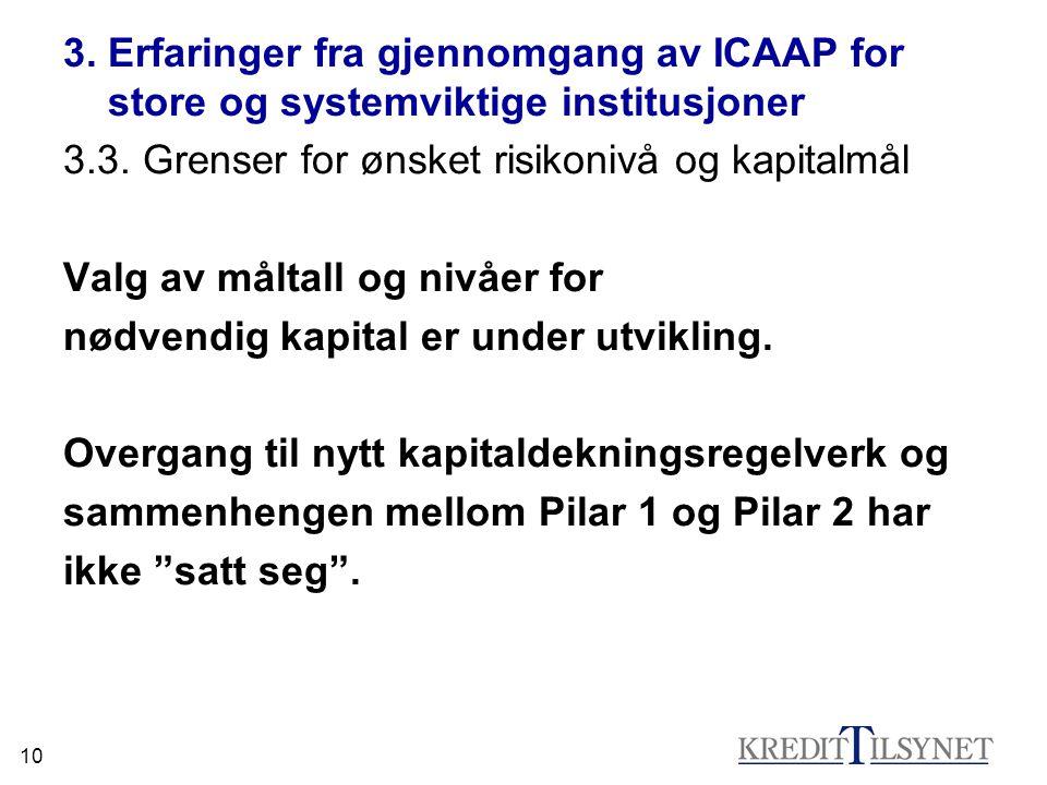 10 3. Erfaringer fra gjennomgang av ICAAP for store og systemviktige institusjoner 3.3.