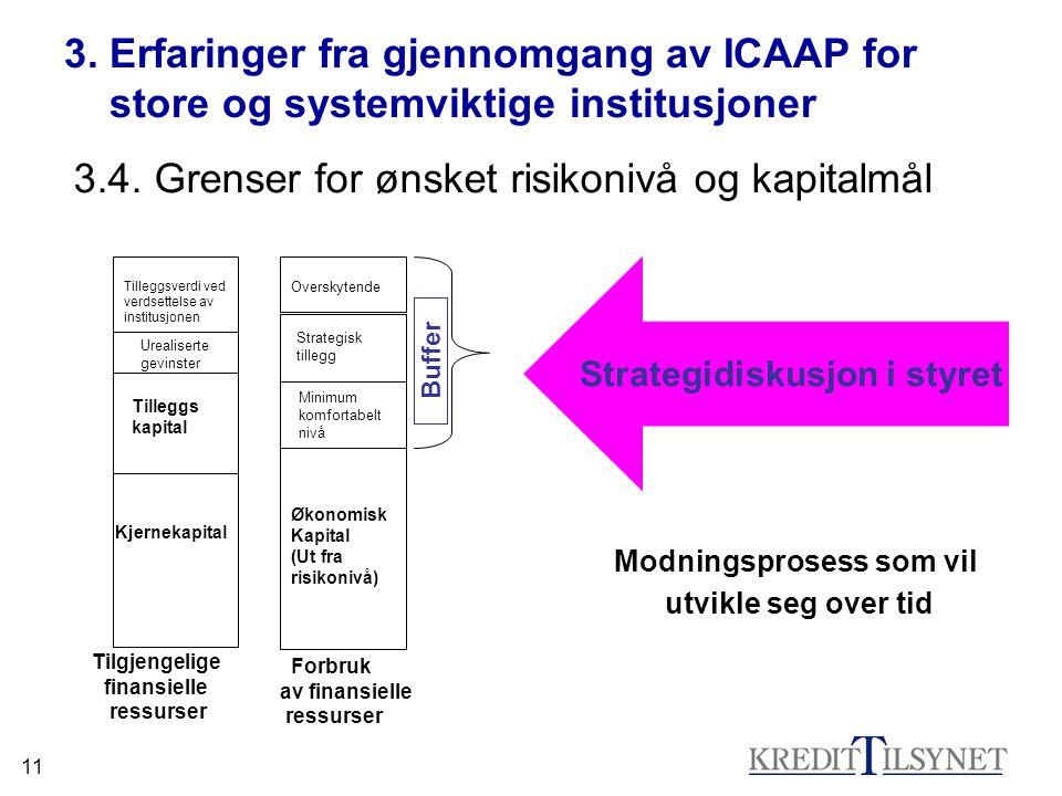 11 3. Erfaringer fra gjennomgang av ICAAP for store og systemviktige institusjoner 3.4.