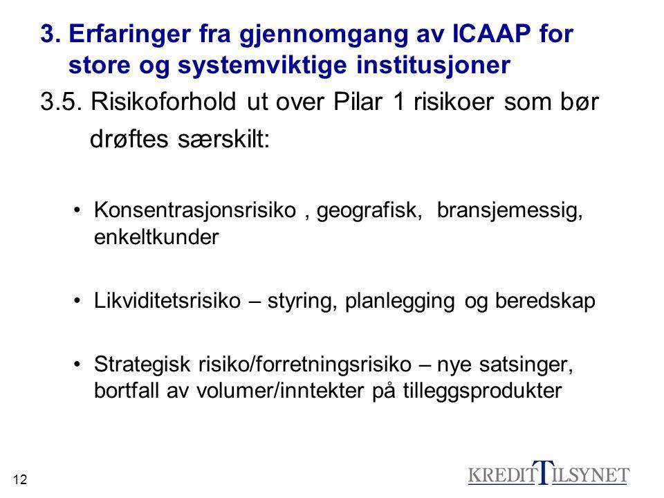 12 3. Erfaringer fra gjennomgang av ICAAP for store og systemviktige institusjoner 3.5.